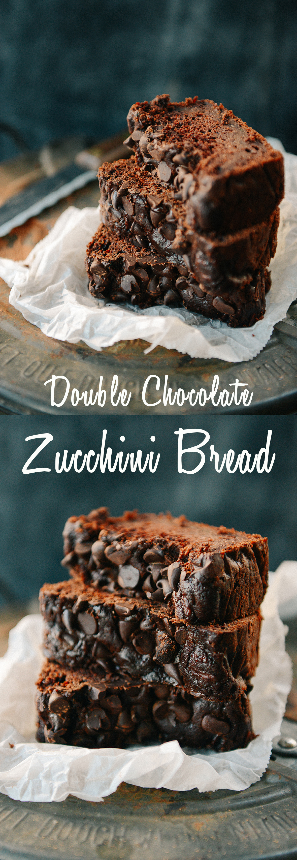 Whole Wheat Double Chocolate Zucchini Bread // www.WithTheGrains.com