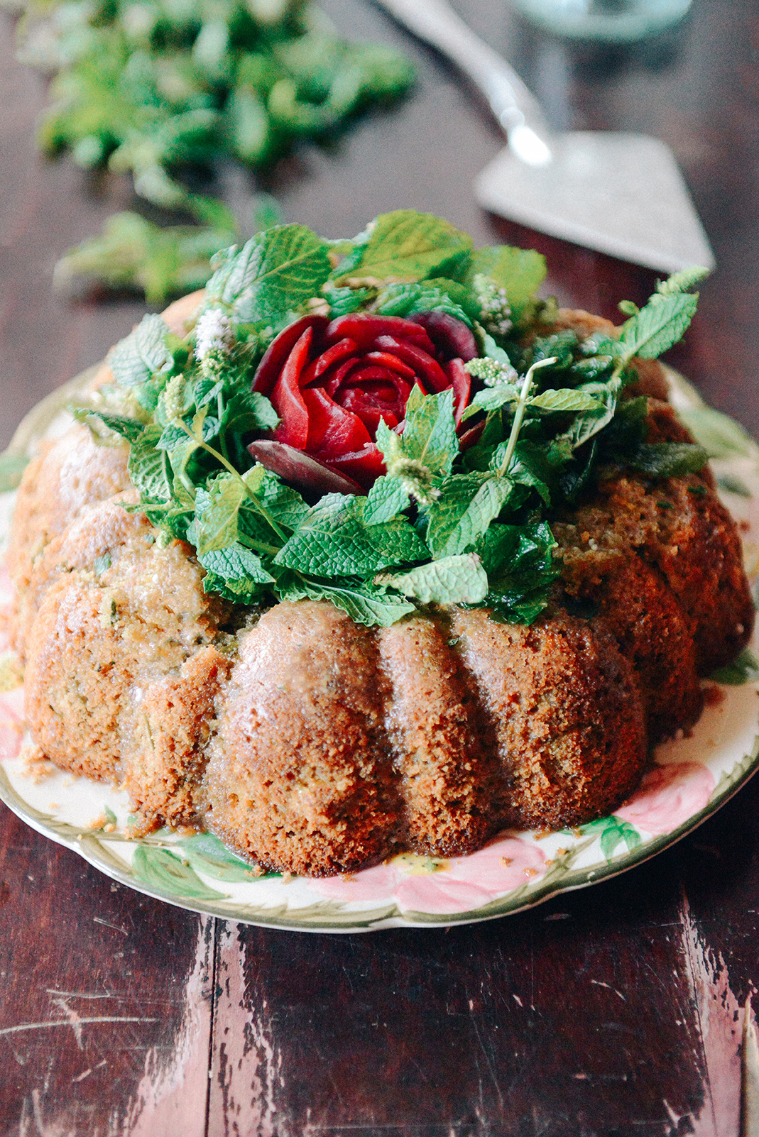 Sprouted Spelt Zucchini Beet Cake with Vodka Mint Glaze // www.WithTheGrains.com