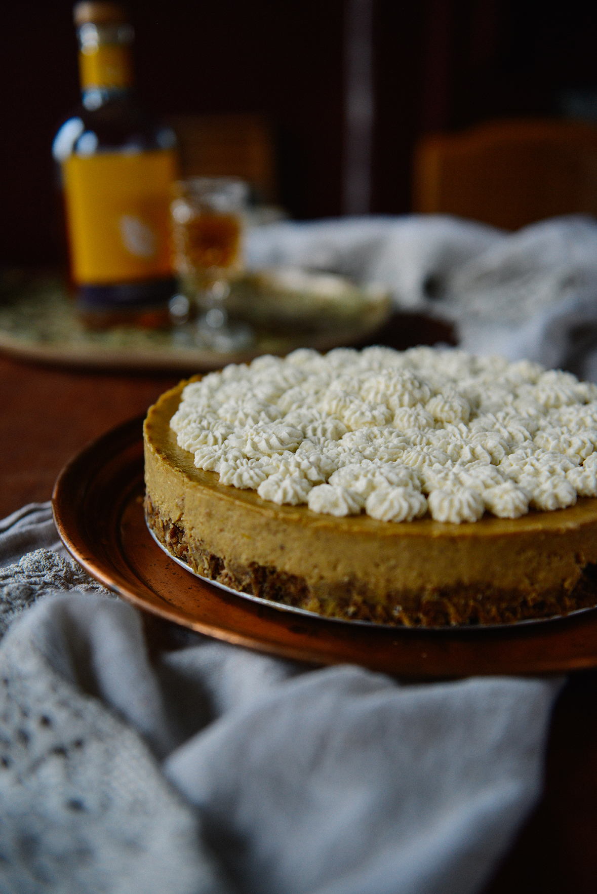 Pumpkin Cheesecake w/ Ginger & Spice Oat Crust (Gluten Free)