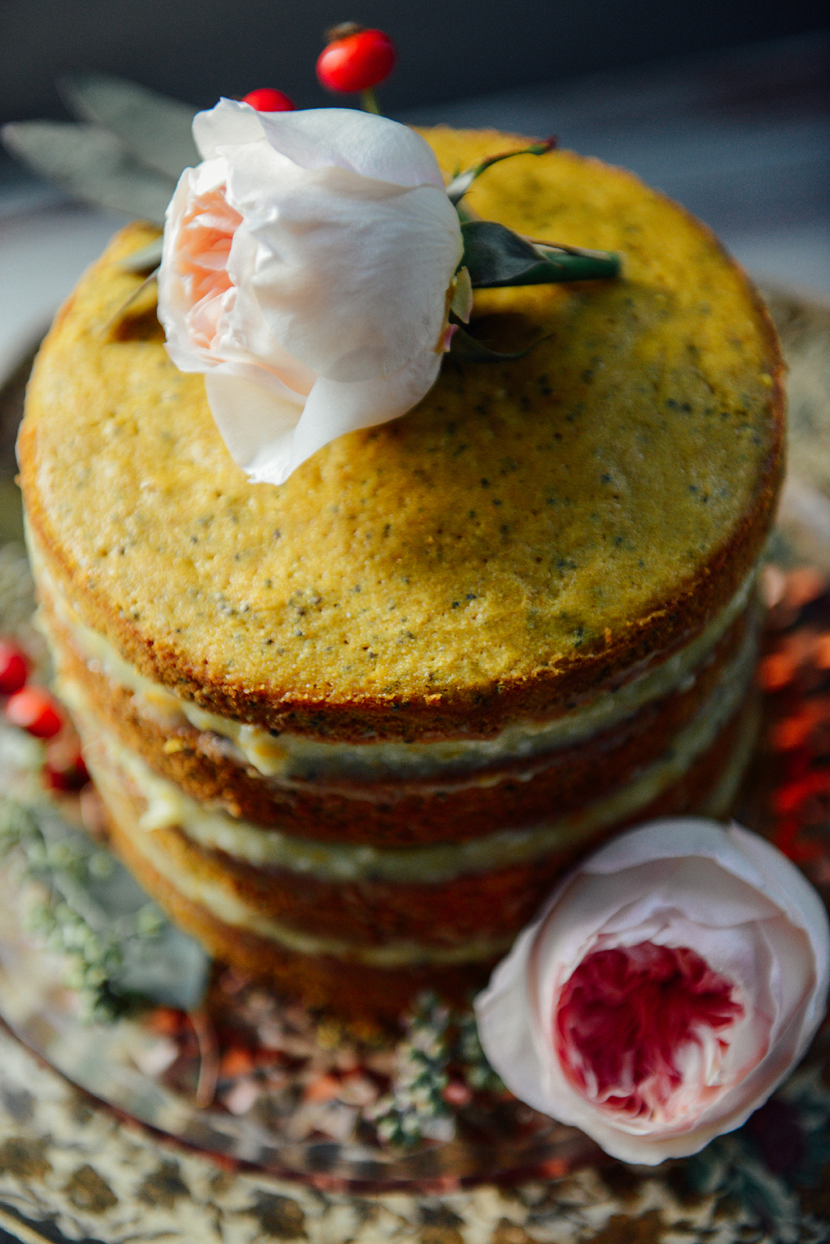 Whole Wheat Citrus, Turmeric & Chia Seed Layer Cake with Orange Buttercream // www.WithTheGrains.com