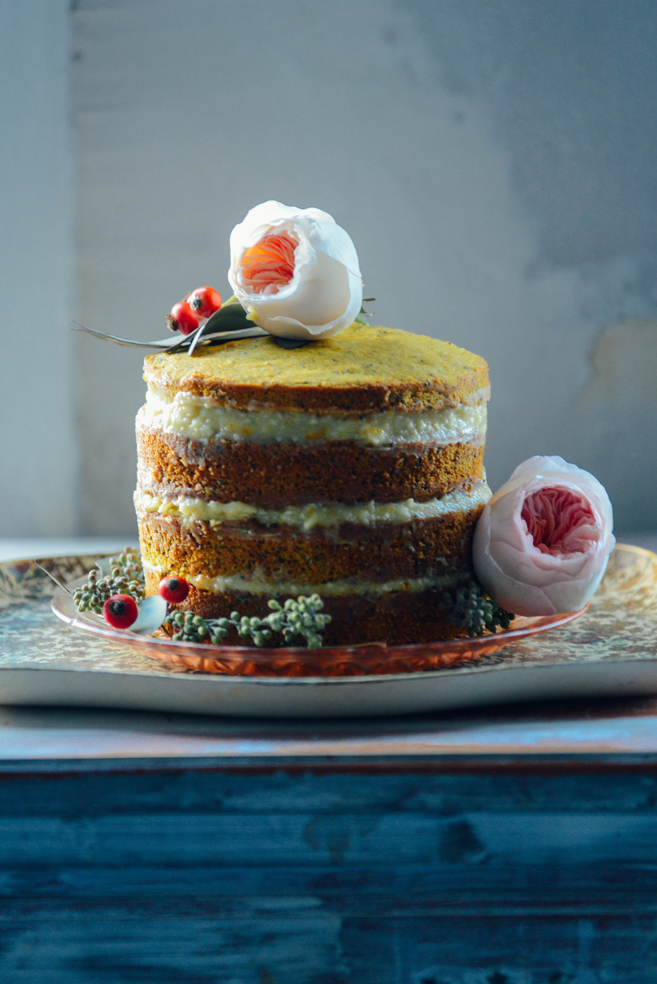 Whole Wheat Citrus, Turmeric & Chia Seed Layer Cake