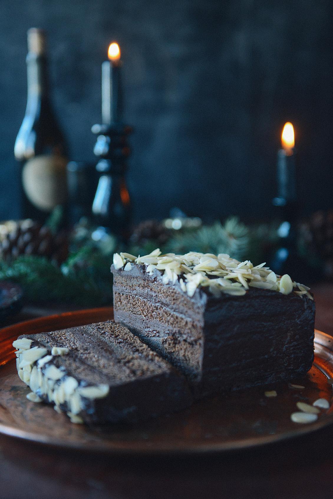 Whole Wheat Chocolate Layer Cake with Chestnut Cream & Dark Chocolate Ganache