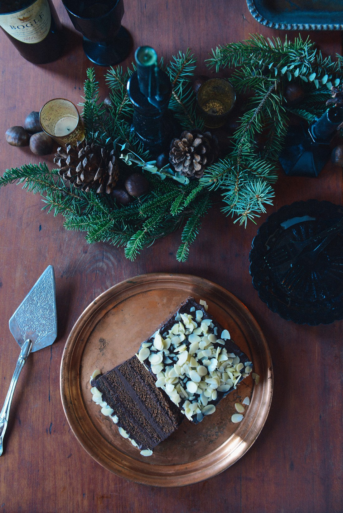 Whole Wheat Chocolate Layer Cake with Chestnut Cream & Dark Chocolate Ganache // www.WithTheGrains.com