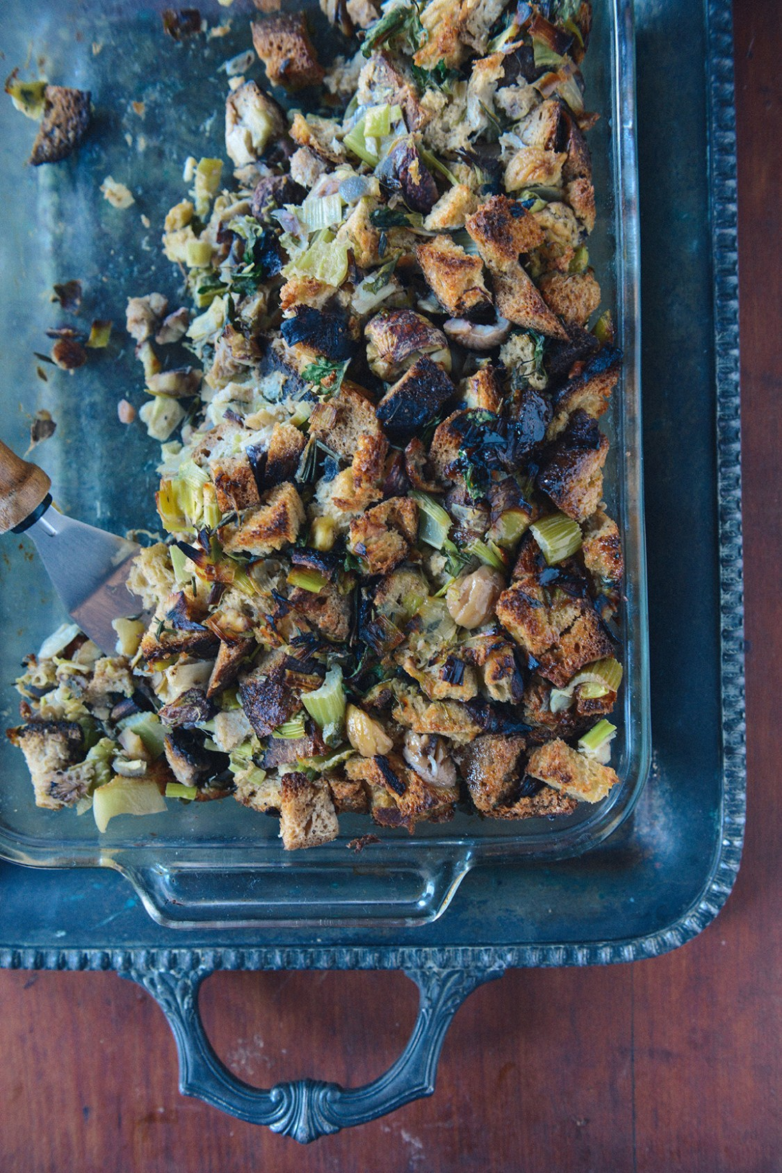 Roasted Chestnut Stuffing (Vegetarian) // www.WithTheGrains.com
