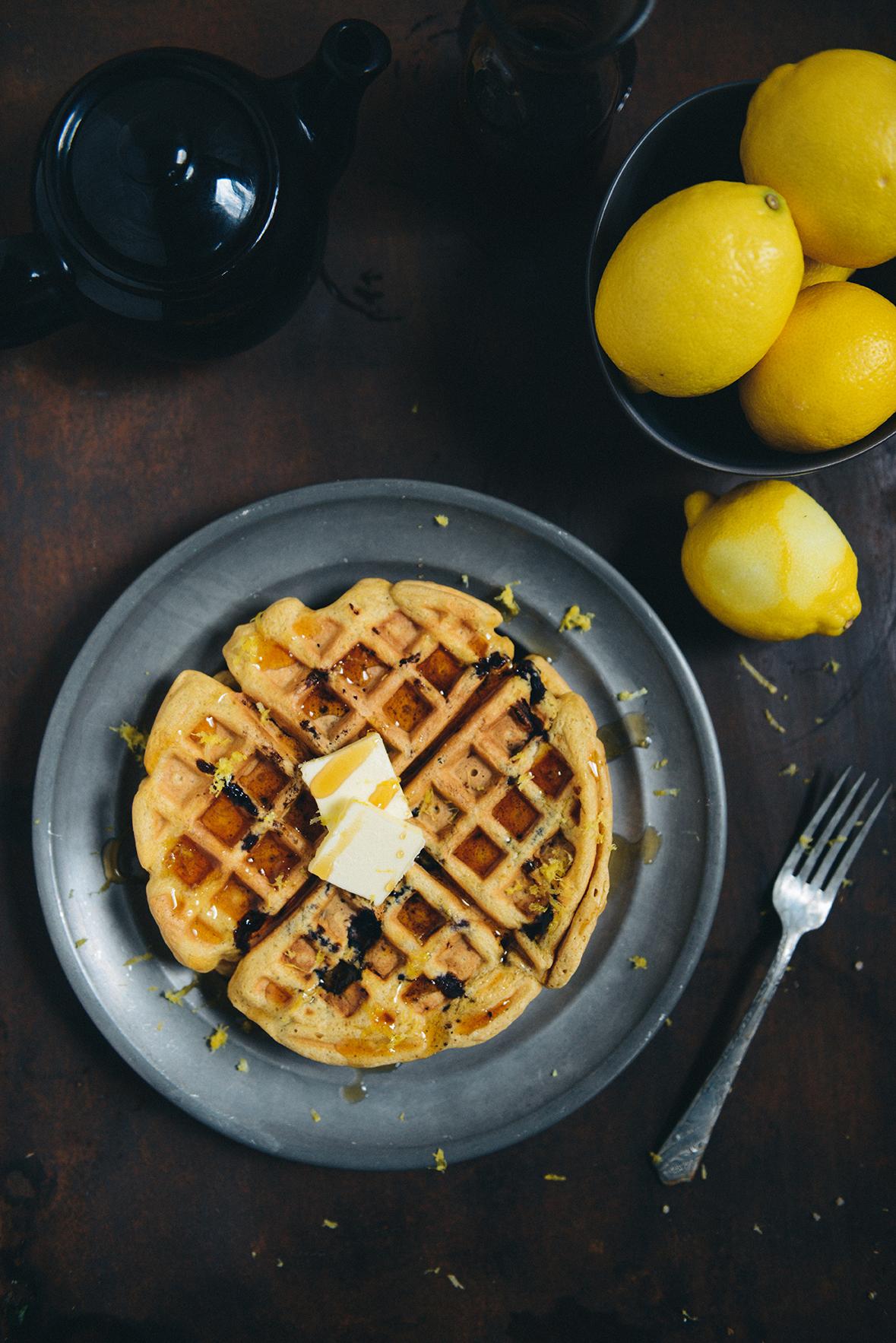Lemon Blueberry Quinoa Waffles // www.WithTheGrains.com