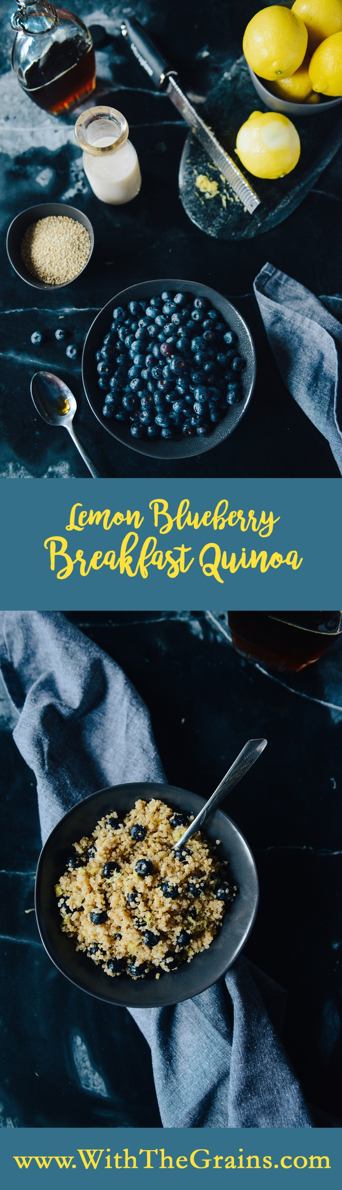 Lemon Blueberry Breakfast Quinoa // www.WithTheGrains.com