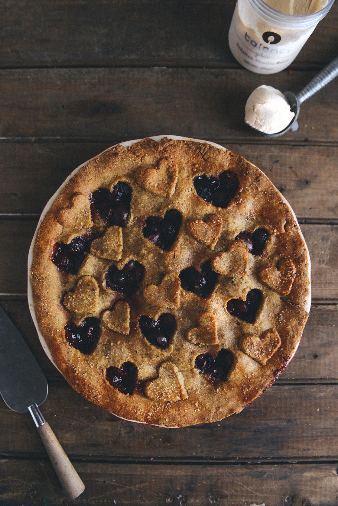 Cherry Pie with a Whole Grain Basil Flower Crust