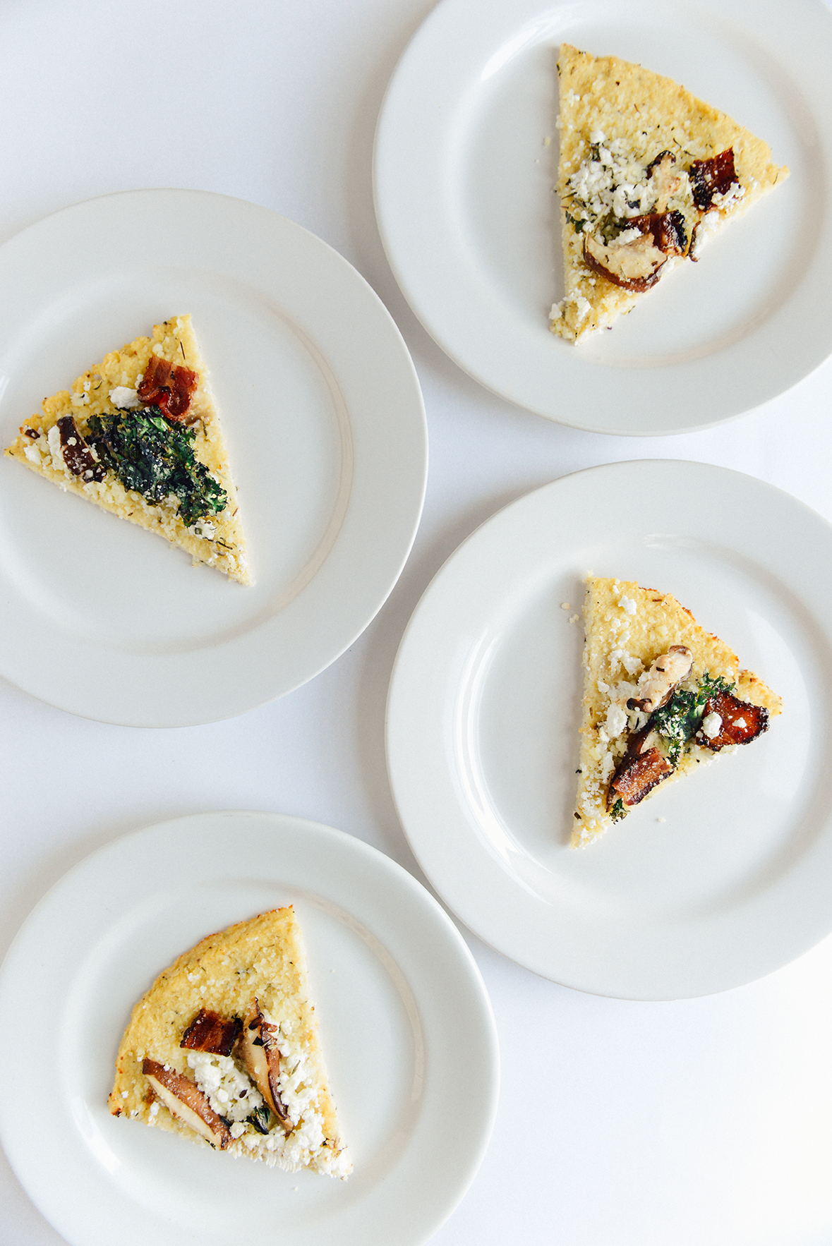Cauliflower Crust Pizza with Bacon, Mushrooms & Kale (Gluten Free)