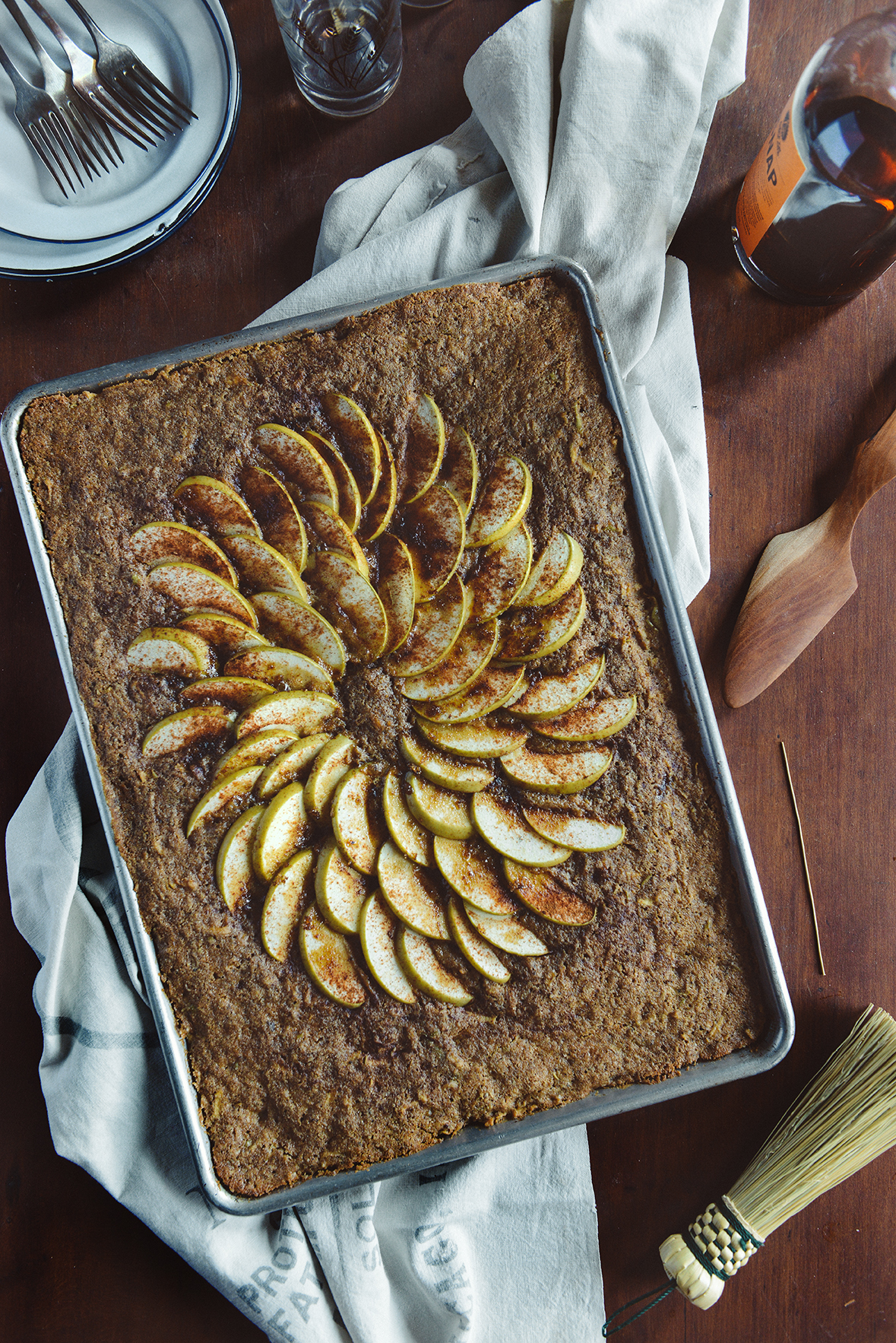 Whole Grain Apple Spice Sheet Cake // www.WithTheGrains.com