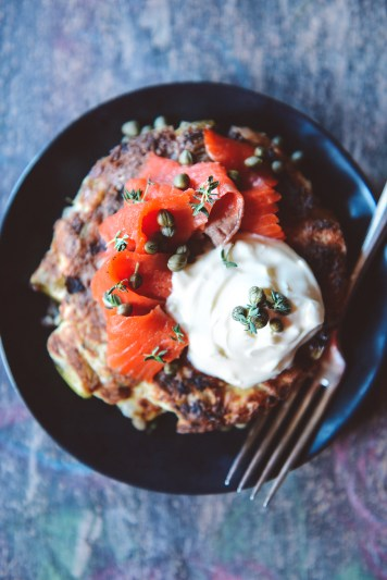 What To Make With Leftover Stuffing: Stuffing Latkes with Salmon, Crème Fraîche & Capers // www.WithTheGrains.com