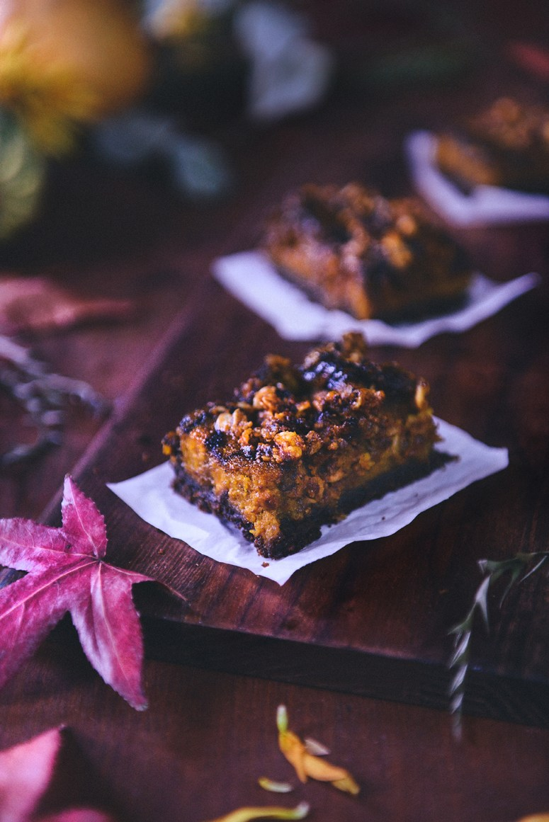 Whole Grain Pumpkin Gingerbread Bars with Pumpkin Streusel