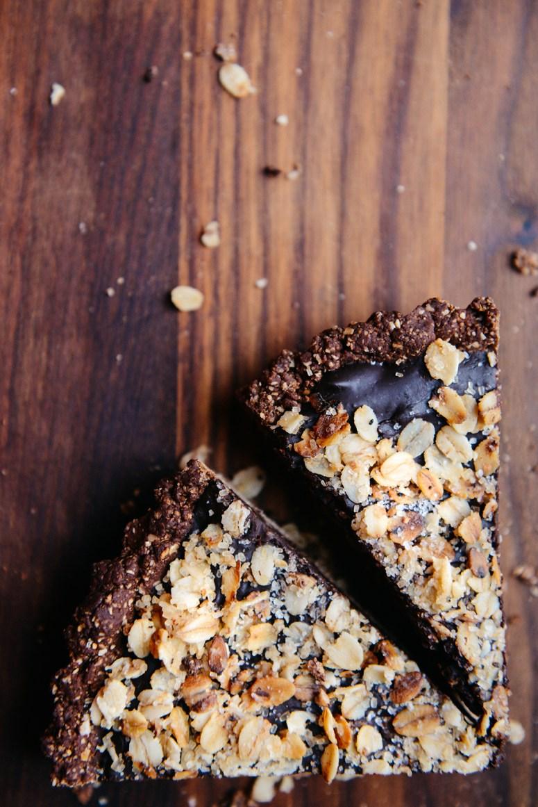 Vegan Chocolate Tart with Salted Oat Crust