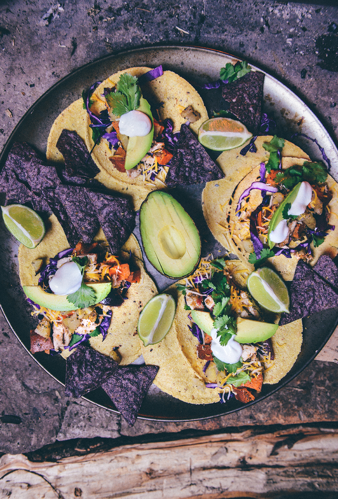 Spicy Pepper Roasted Chicken Tacos with Hearth Roasted Potatoes // www.WithTheGrains.com