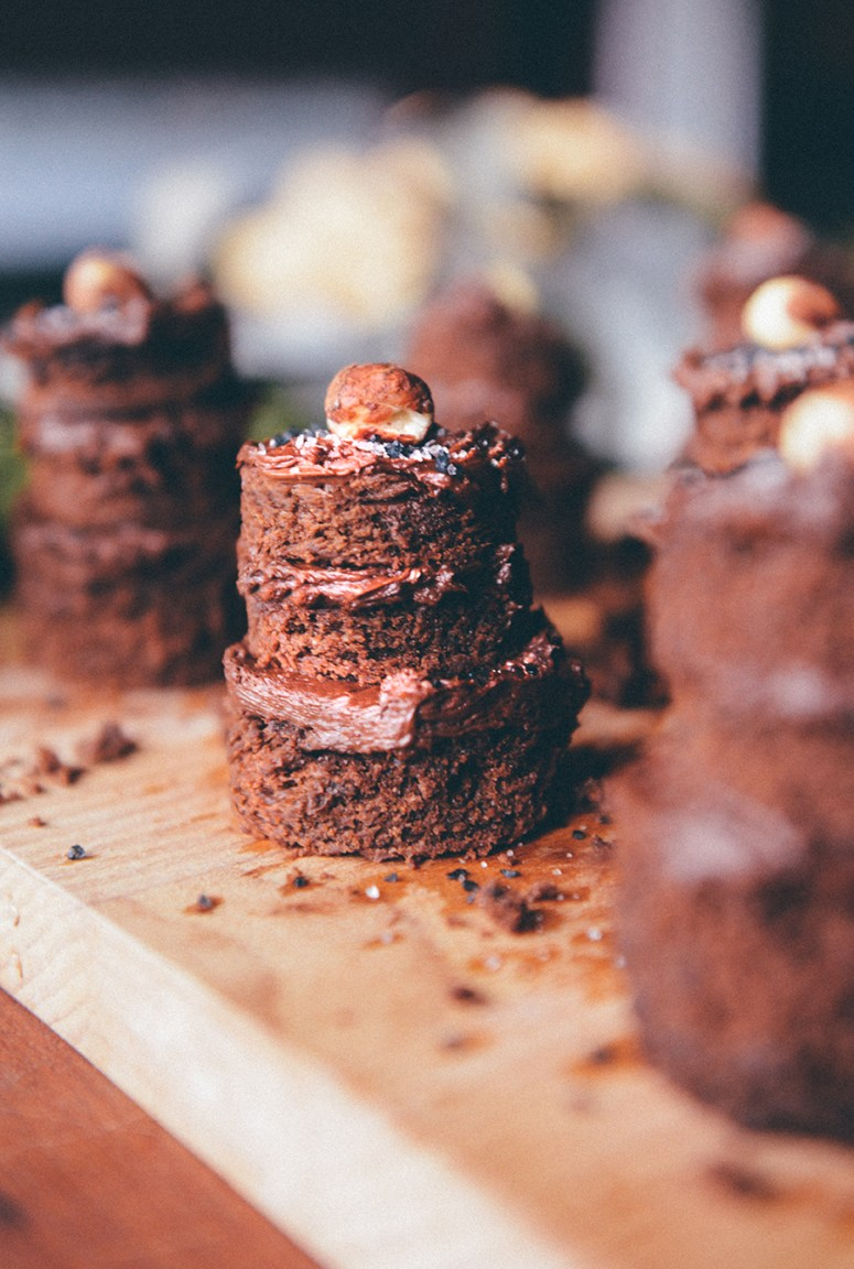 My Birthday Cake Tradition: Whole Grain Chocolate Layer Cakes with Hazelnut Ganache