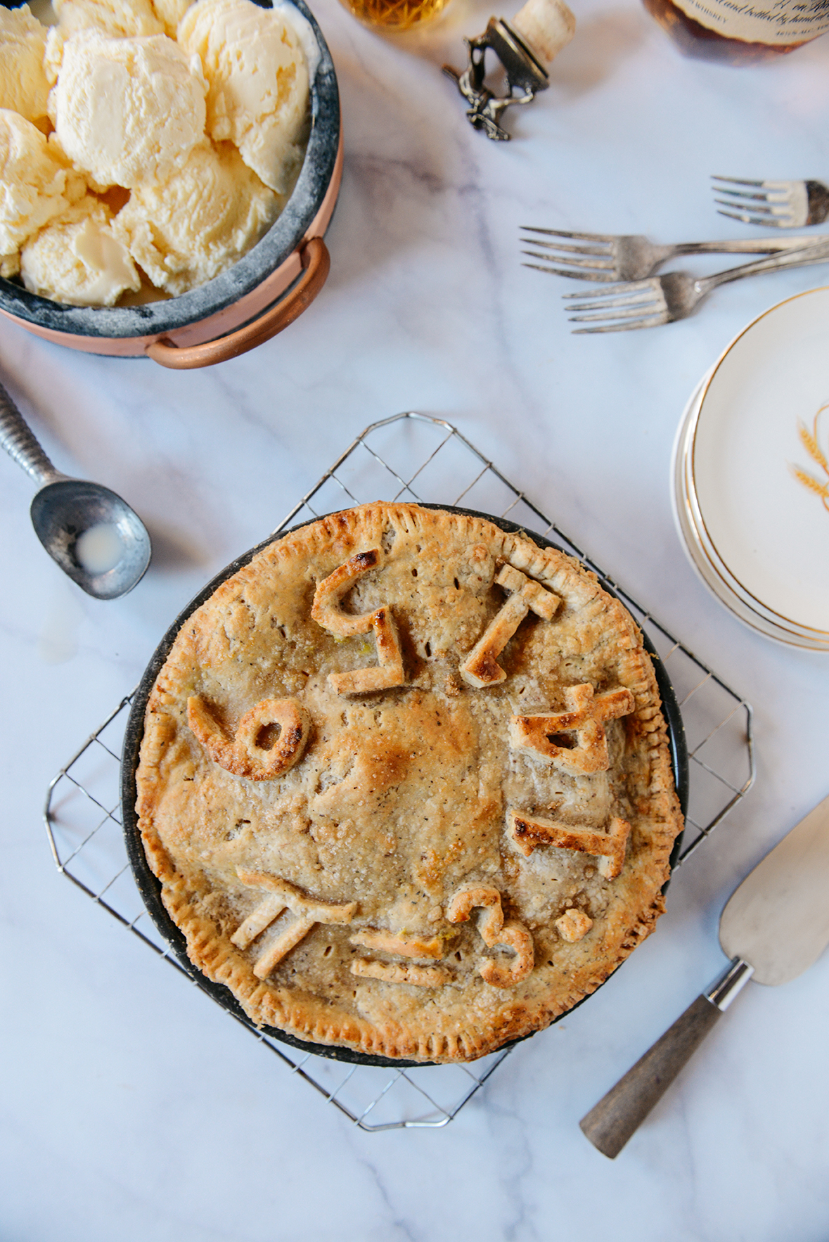 Spiced Apple Pie with a Chai Flavored Whole Grain Crust for Pi(e) Day