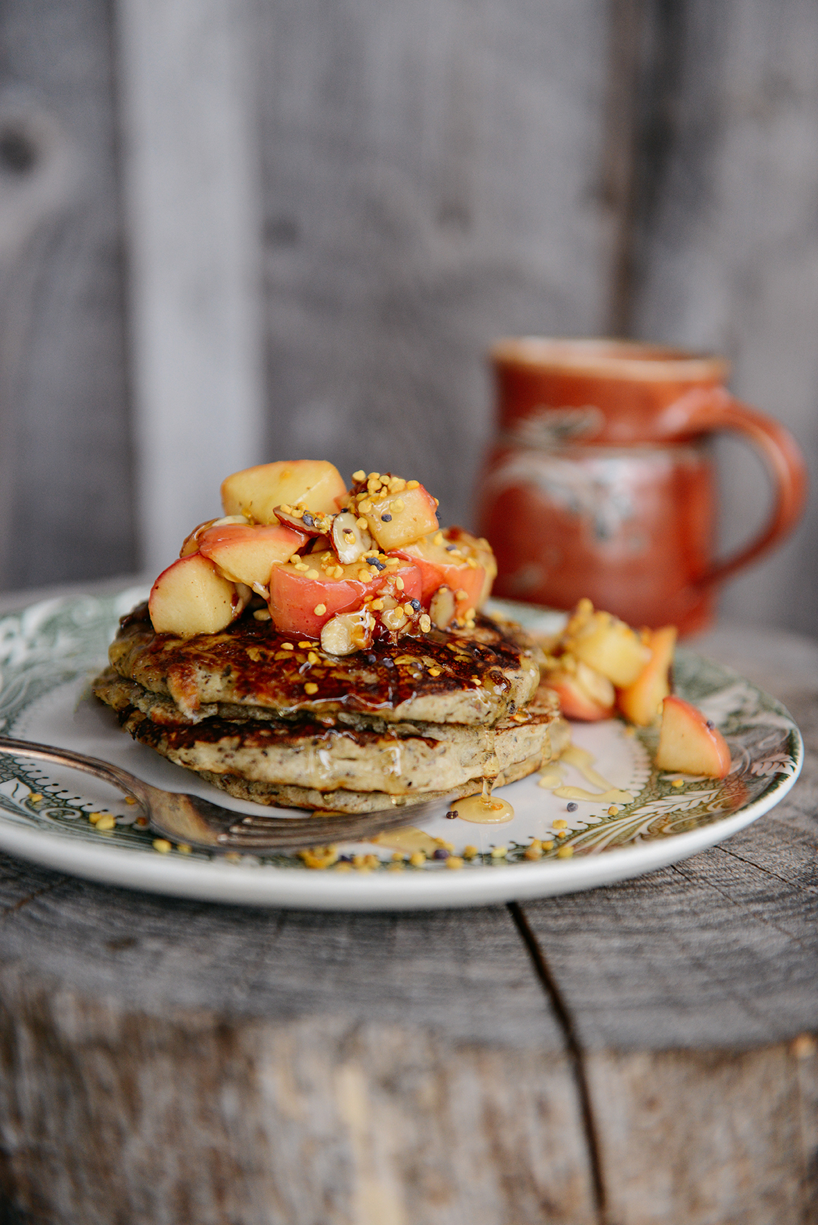 Honey Buckwheat Pancakes with Caramelized Apples & Bee Pollen