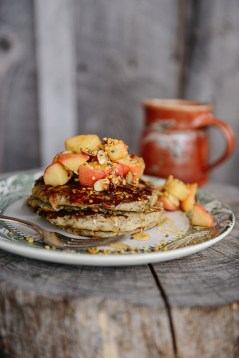Honey Buckwheat Pancakes with Caramelized Apples & Bee Pollen // www.WithTheGrains.com