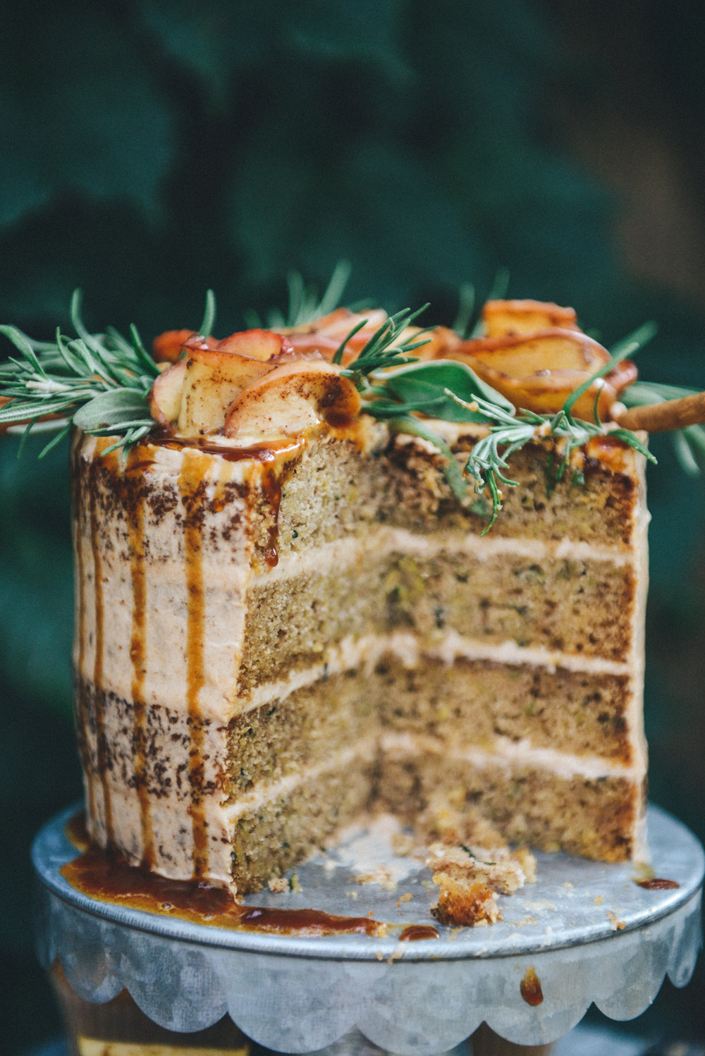 Gluten Free Zucchini Cake with Apple Butter Frosting & Apple Cider Reduction // www.WithTheGrains.com