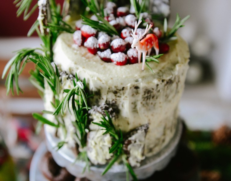 Chocolate Gingerbread Cake with Chocolate Gingerbread Twigs