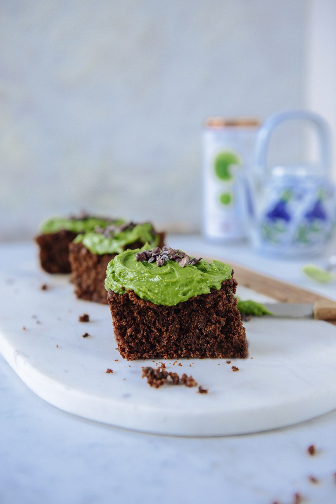 Chocolate Zucchini Cake with Matcha Frosting {Gluten Free} // www.WithTheGrains.com