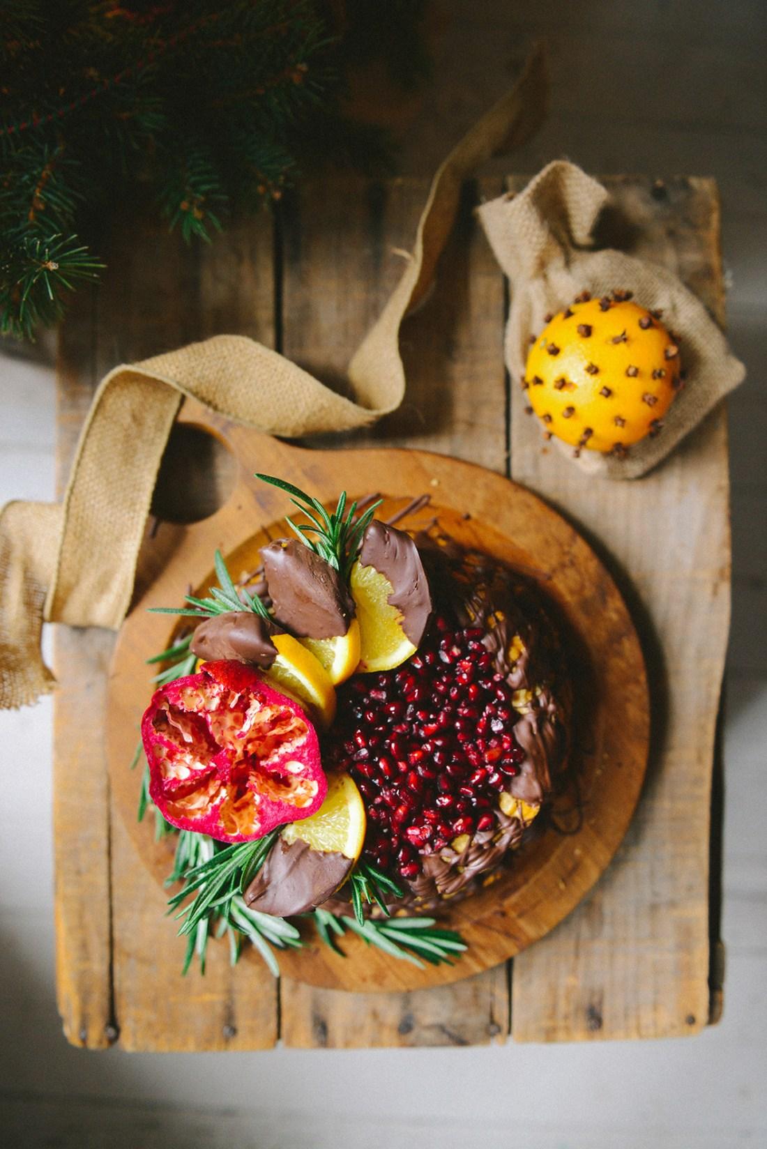 Ricotta Cake with Dark Chocolate & Pomegranates {Gluten-Free} // www.WithTheGrains.com