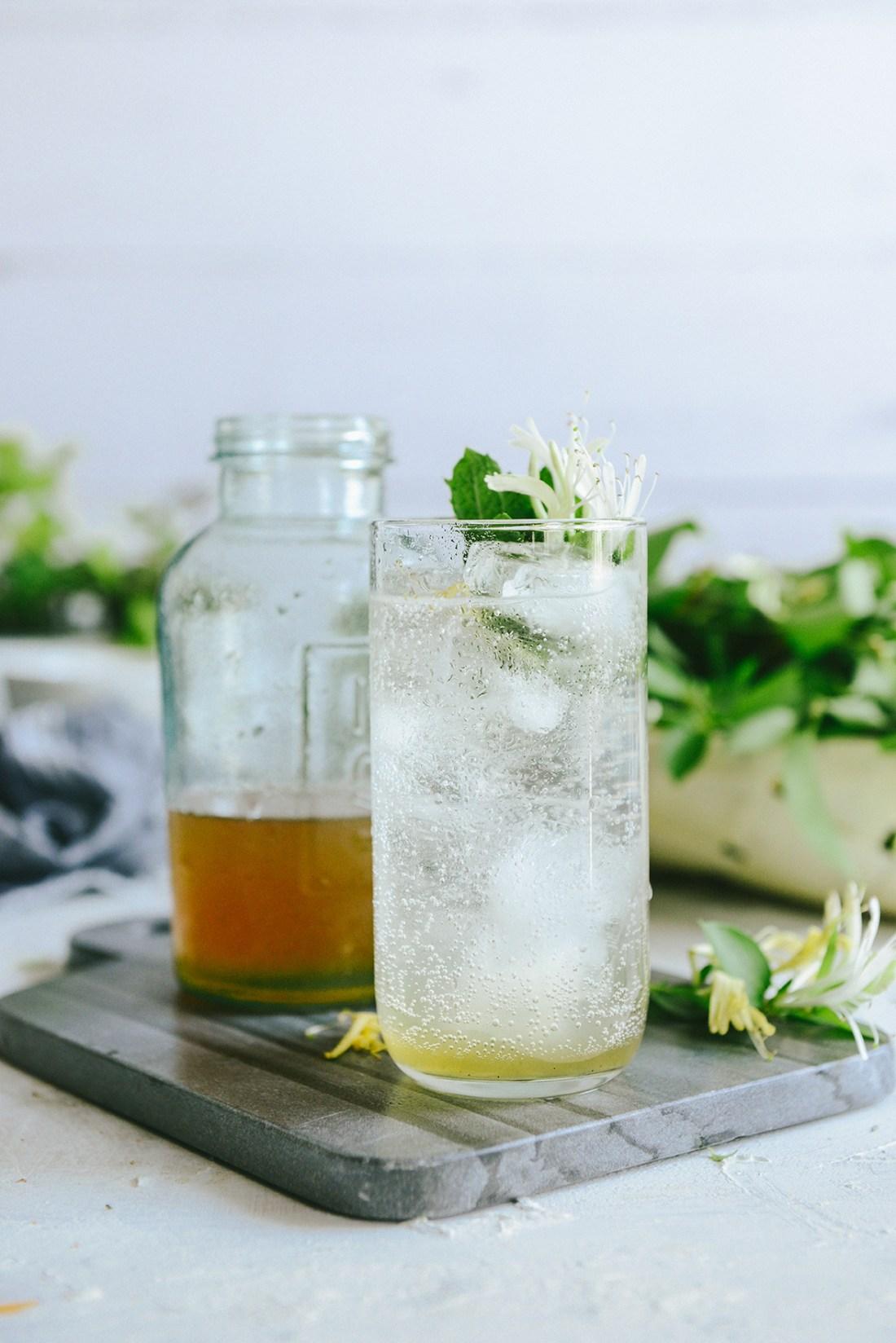 Honeysuckle Syrup for a Sparkling Spring Drink // www.WithTheGrains.com