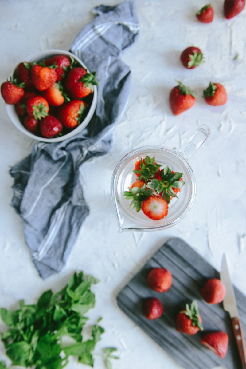 Strawberry Detox Water To Waste Less and Drink More