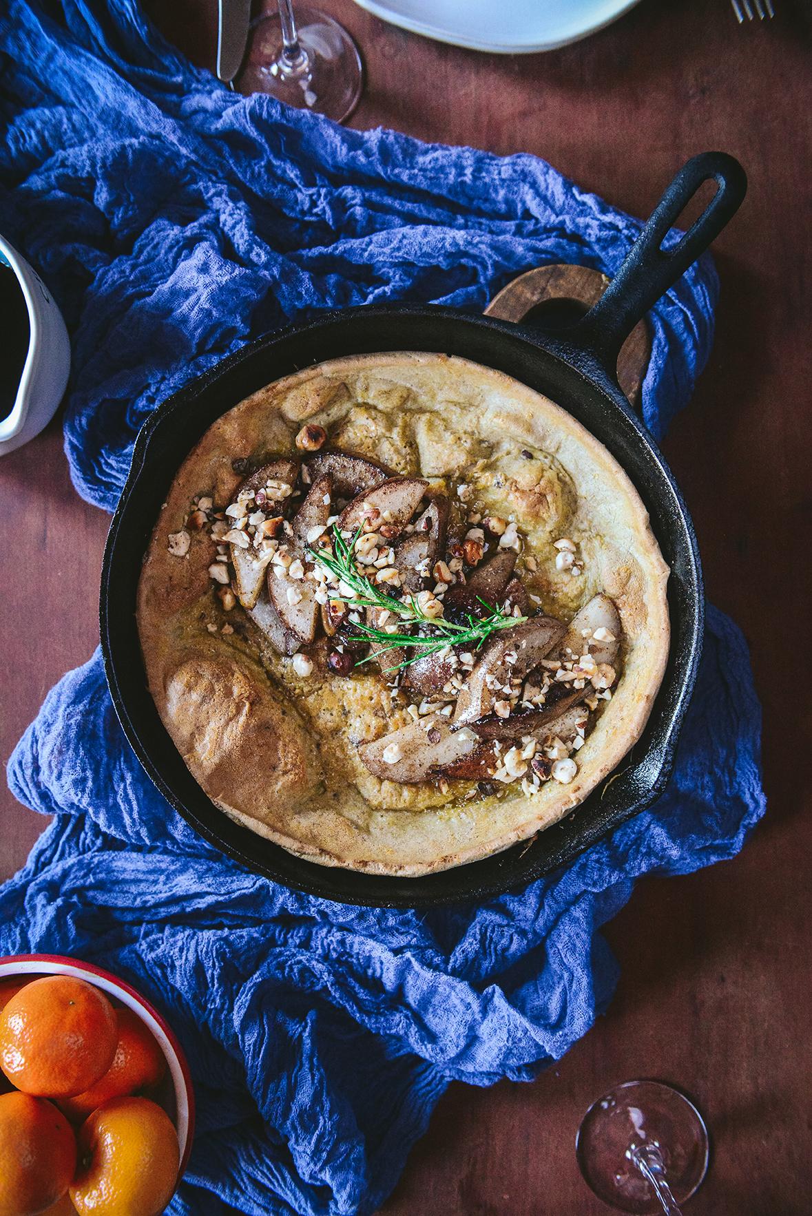 Gluten Free Dutch Baby with Sautéed Pears & Hazelnuts // www.WithTheGrains.com