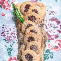 Whole Grain Linzer Cookies with Rye Flour & Lingonberry Jam