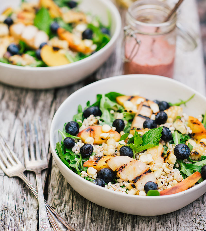 A gluten-free grain salad with grilled peaches and plump blueberries from The Gluten-Free Grains Cookbook by Quelcy Kogel // www.WithTheGrains.com