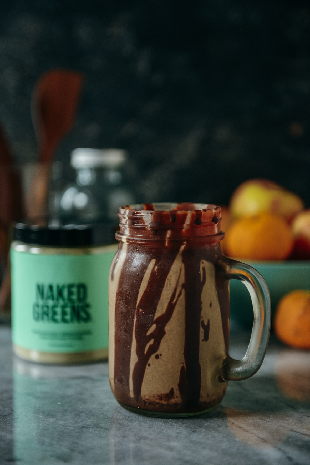 Peanut Butter Smoothie with Naked Greens // www.WithTheGrains.com