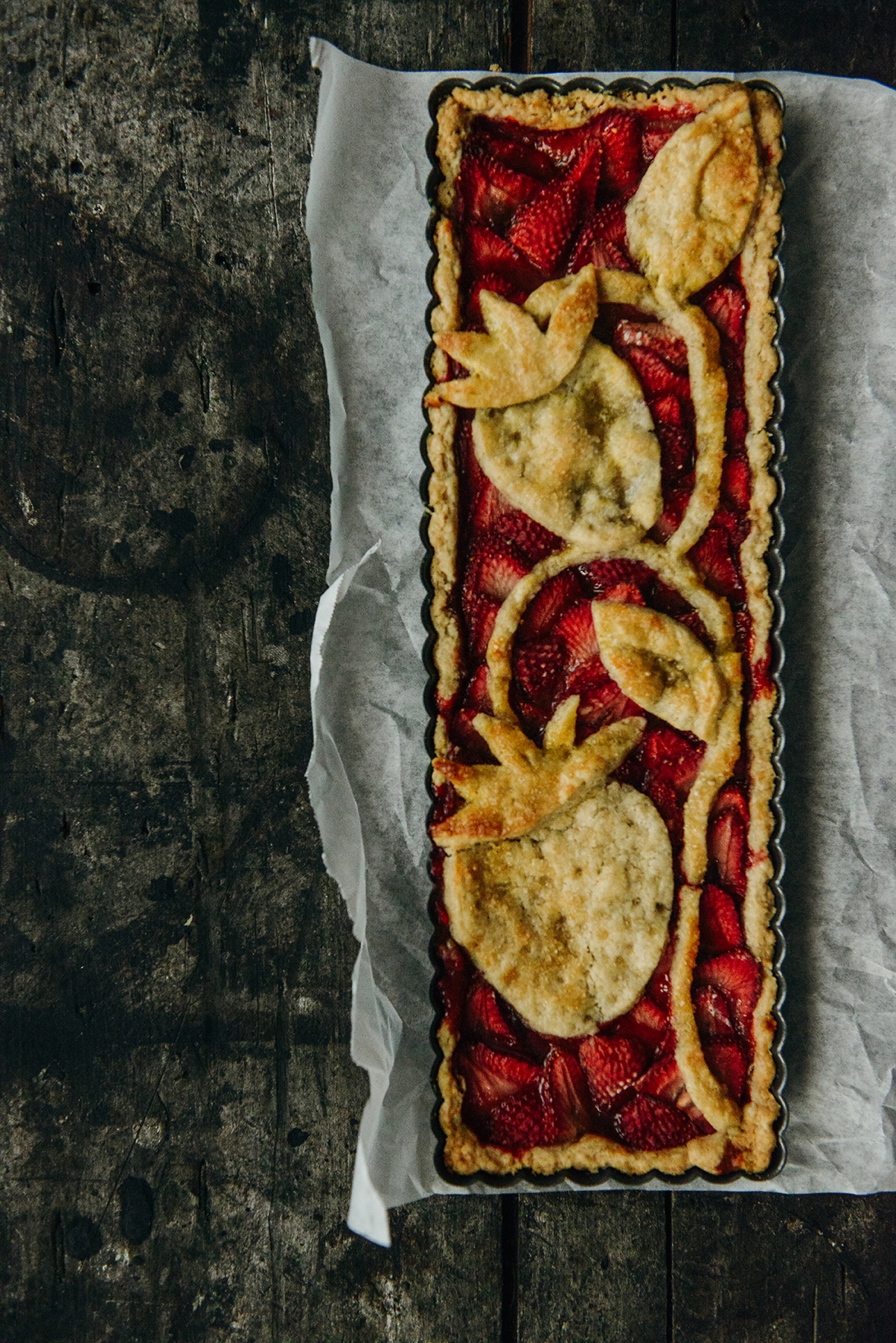 Strawberry Tart with an Oat Flour Crust // www.WithTheGrains.com