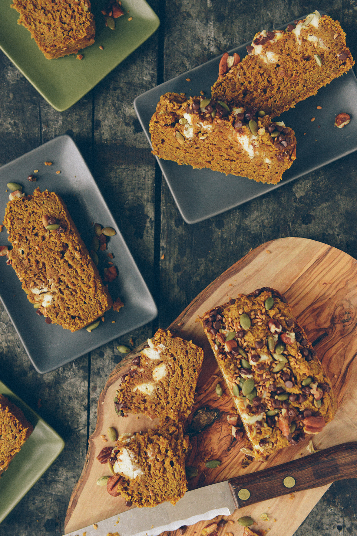 Fresh Baked Pumpkin Cream Cheese Bread // www.WithTheGrains.com