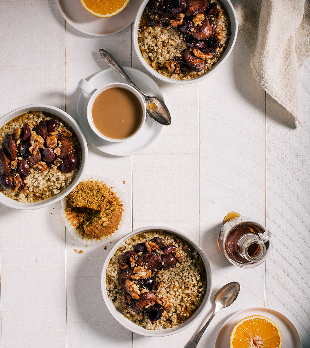 Savory Oats with Maple Sausage & Cherry Sauce // www.WithTheGrains.com