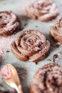Chocolate Roses with Pink Pitaya Sugar // www.WithTheGrains.com