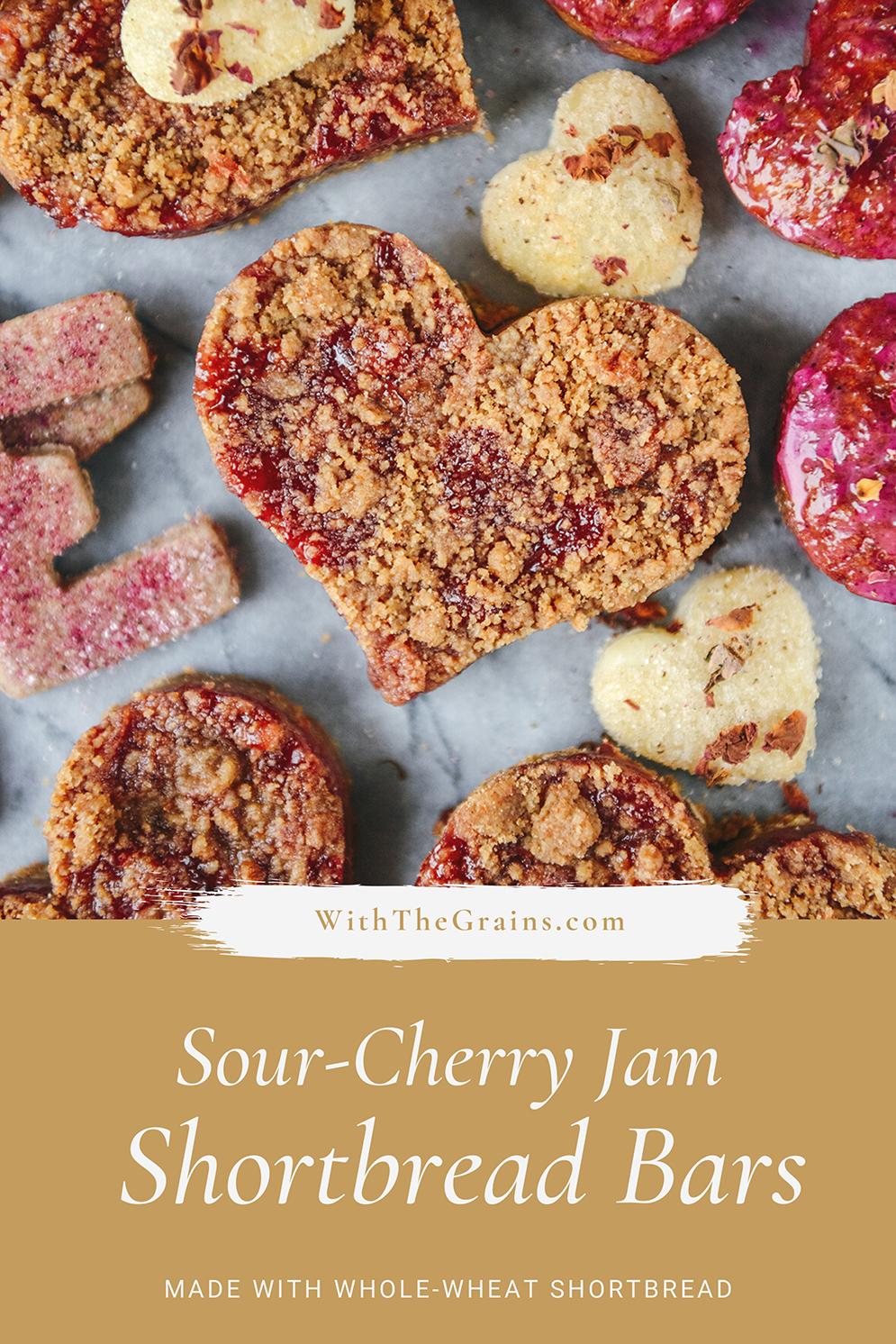 Whole-Grain Sour Cherry Jam Shortbread Bars // www.WithTheGrains.com
