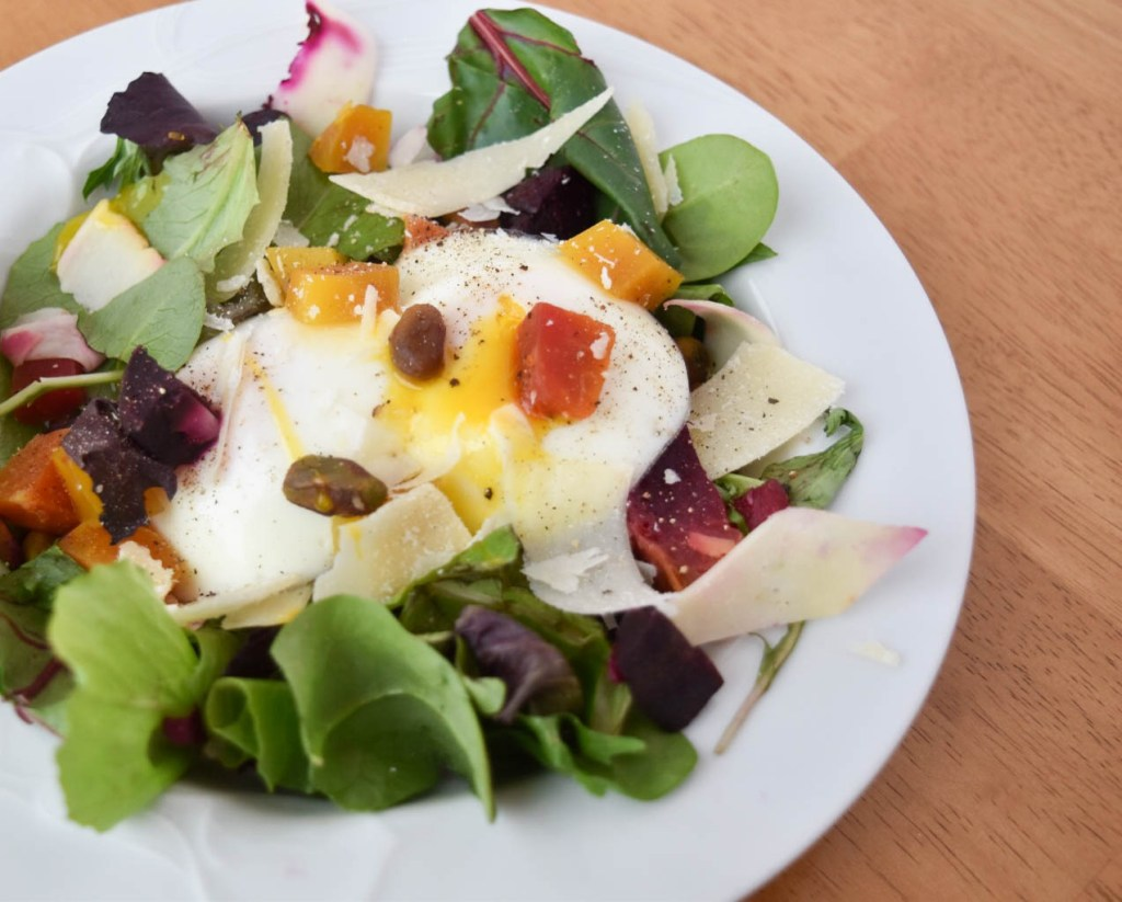 full beet and egg salad offset