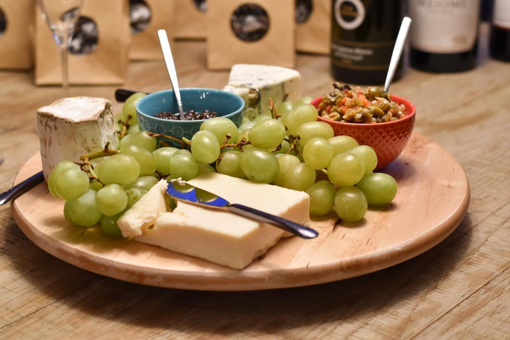 Dinner party cheese tray closeup