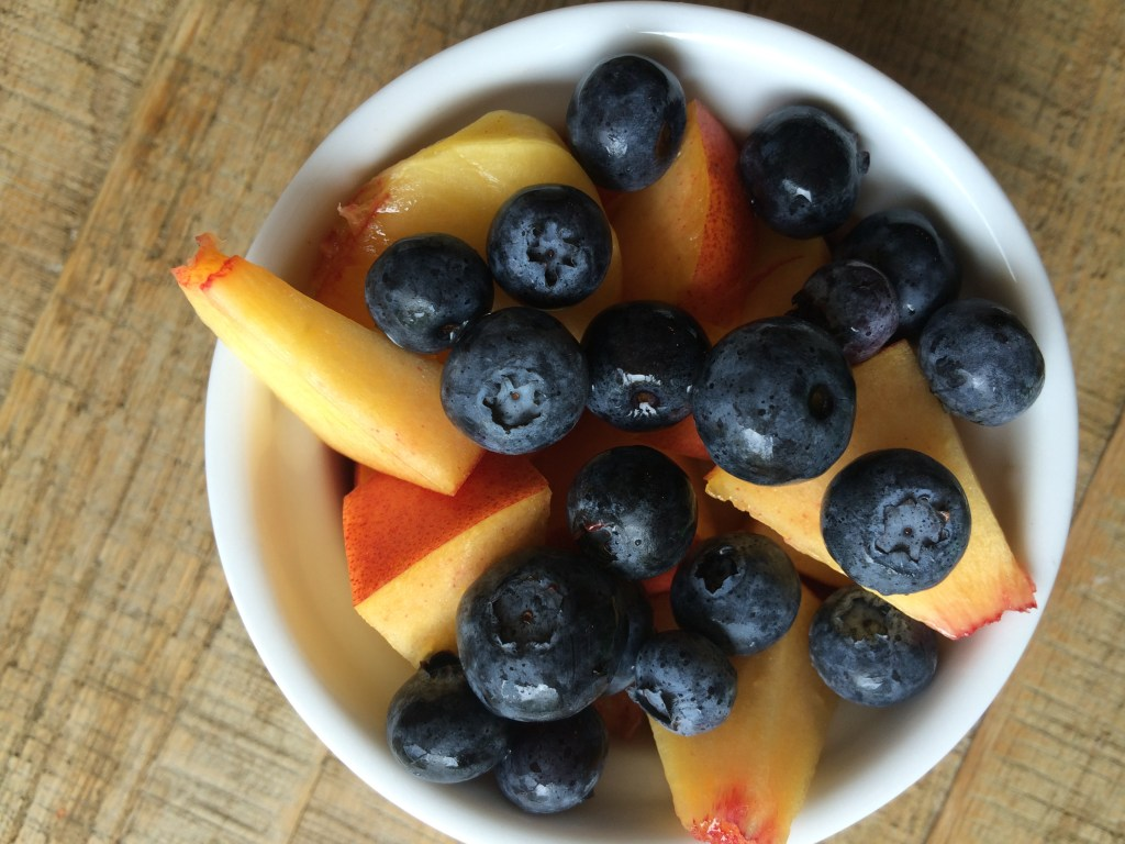 Blueberries peaches