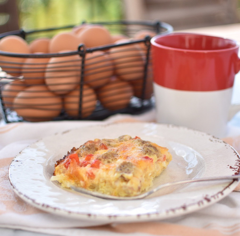 Sausage and Roasted Red Pepper Egg Bake | With Two Spoons
