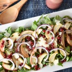 Roasted Pear and Apple Salad with Pomegranate Vinaigrette