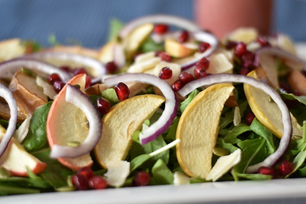 Roasted Pear and Apple Salad with Pomegranate Vinaigrette