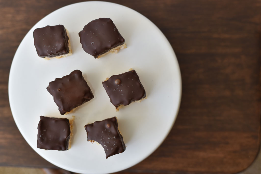 Chocolate Dipped Rice Krispies Bites