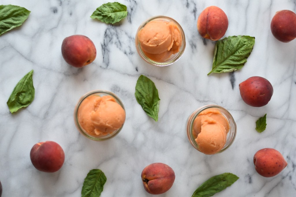 Balsamic Peach and Basil Sorbet. Good Food Reads: Popsicles and Sorbet
