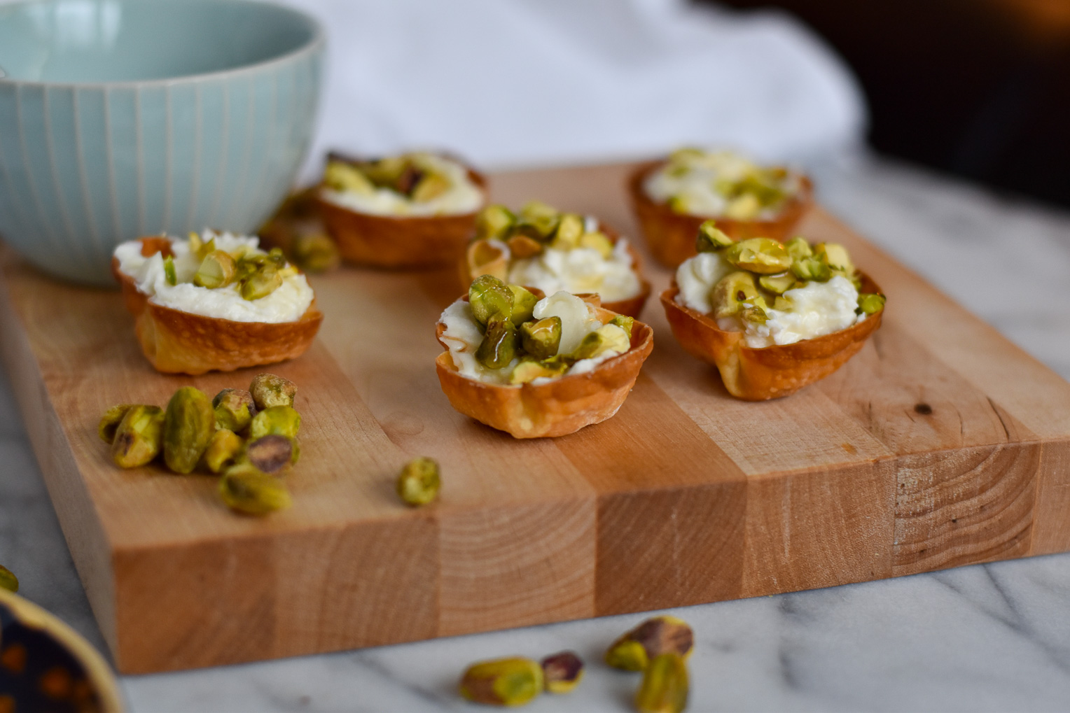 Whipped Goat Cheese Cups with Honey and Pistachios