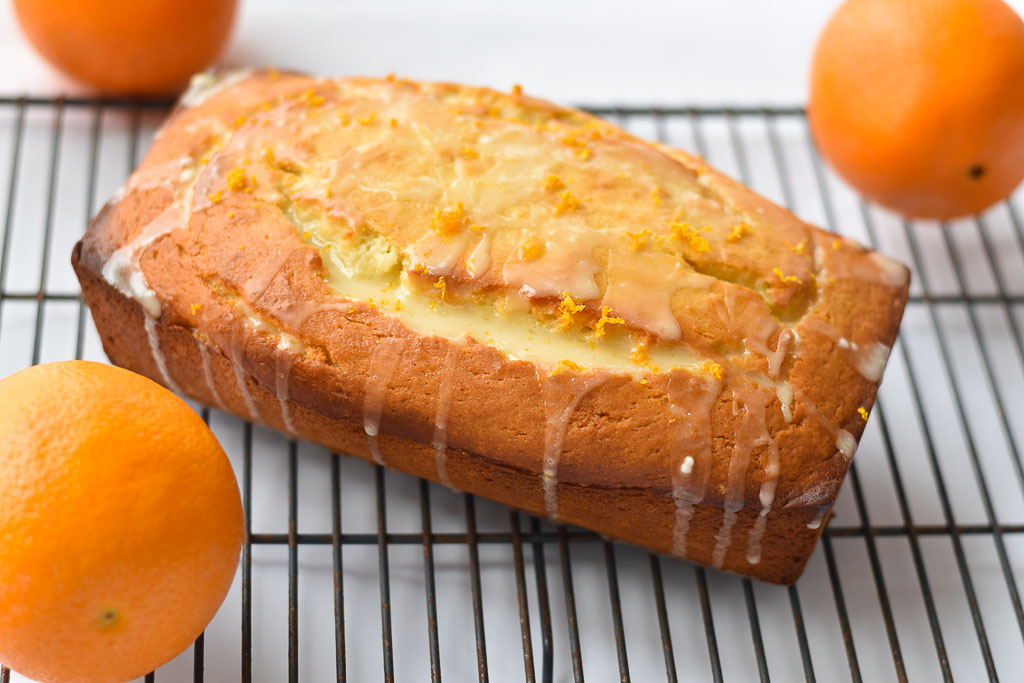 Quick Glazed Orange Bread on a cooling rack