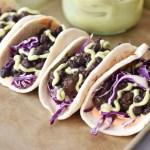Instant Pot Black Bean Tacos in a row