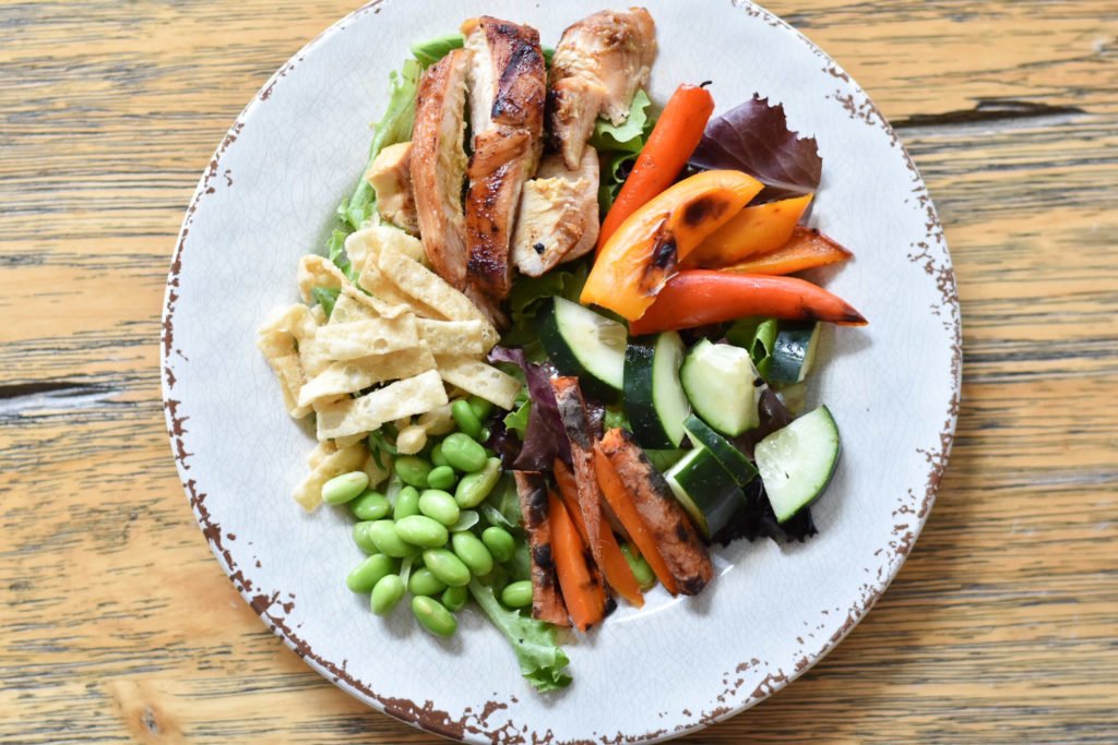 Asian Chicken Salad with Grilled Vegetables by With Two Spoons