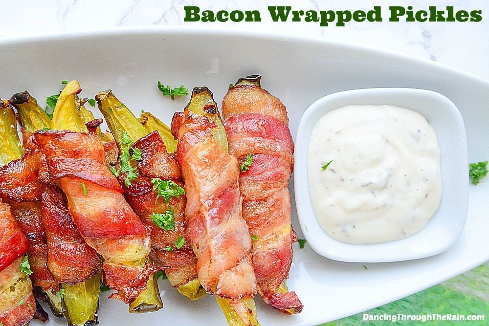 Bacon Wrapped Pickles with dip