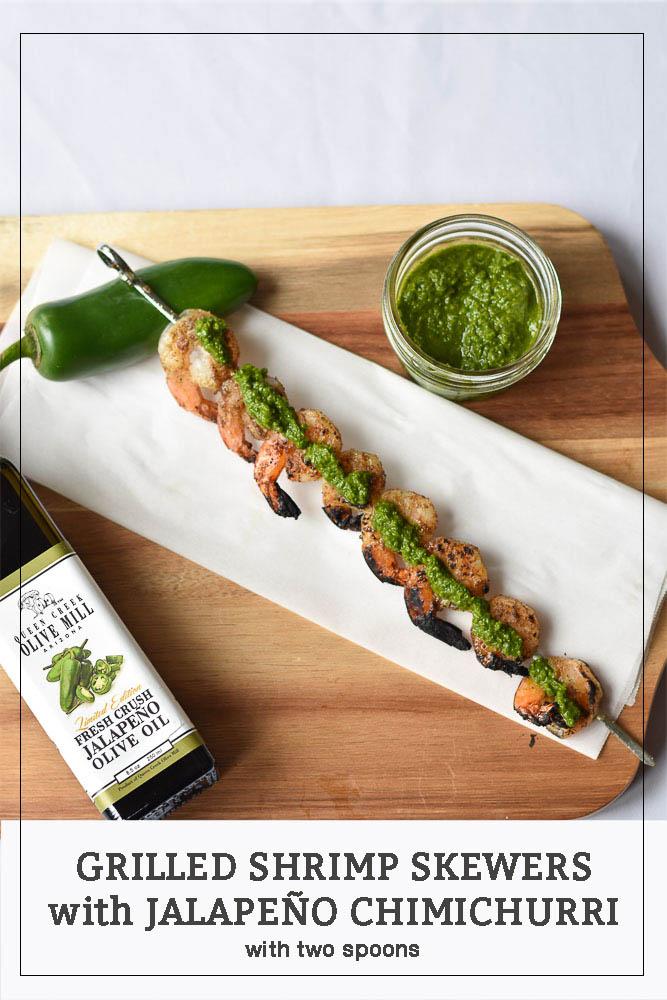Grilled Shrimp Skewers with Jalapeño Chimichurri Pinterest Long Pin